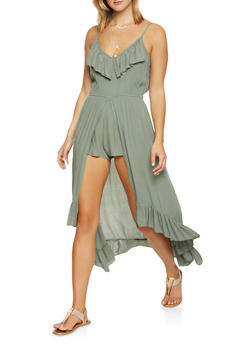 High Low Ruffle Maxi Romper - 1045015050455