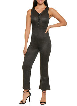Shimmer Knit Half Button Jumpsuit - 1045034280295