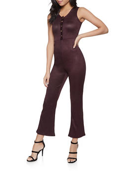Shimmer Knit Half Button Jumpsuit - 1045034280295