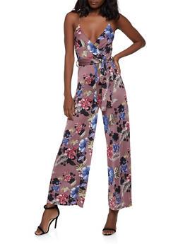 Floral Faux Wrap Cami Jumpsuit - 1045034285095