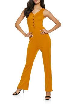 Rib Knit Flared Jumpsuit - 1045034285456