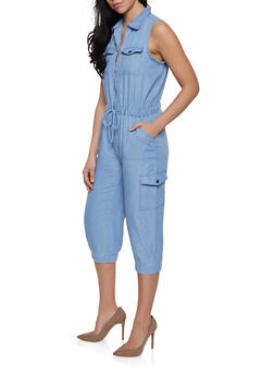 Chambray Cargo Jumpsuit - 1045038340314