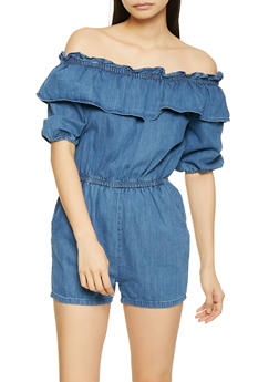 Off the Shoulder Denim Romper - 1045038340340