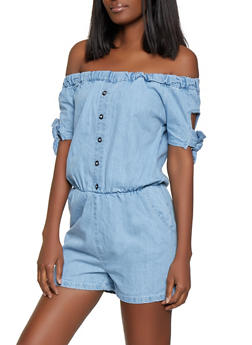 Denim Off the Shoulder Button Detail Romper - 1045038340342