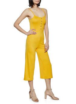 Button Detail Cropped Cami Jumpsuit - 1045038340817