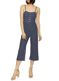 Button Striped Jumpsuit - 1045038340818