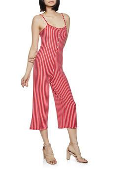 Button Striped Jumpsuit - 1045038340818