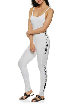 Hustle Graphic Soft Knit Catsuit - WHITE - 1045038348823