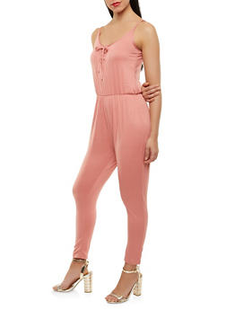 Soft Knit Lace Up Jumpsuit - 1045038348825