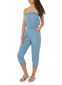 Smocked Crop Denim Jumpsuit - 1045038349313