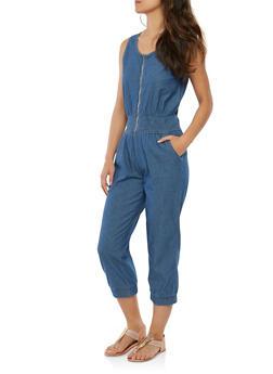 Smocked Zip Front Denim Jumpsuit - 1045038349314