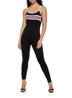 Striped Detail Soft Knit Catsuit - 1045038349635