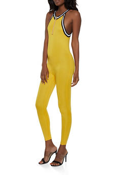 Half Zip Ribbed Knit Trim Catsuit - 1045038349636