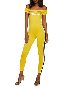 Slay Foil Graphic Off the Shoulder Catsuit - 1045038349641