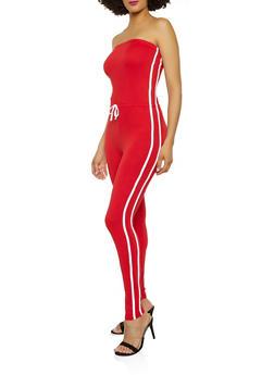 Varsity Stripe Tube Jumpsuit - 1045038349644