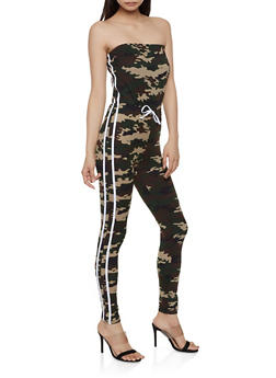 Camo Varsity Stripe Tube Jumpsuit - 1045038349645