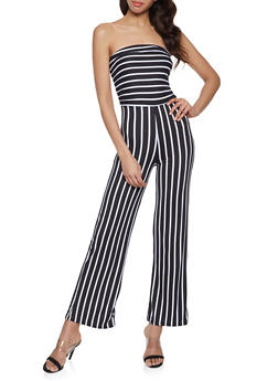 Striped Strapless Jumpsuit - 1045038349651