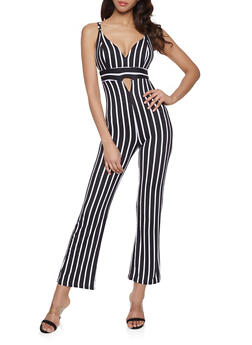 Striped V Neck Jumpsuit - 1045038349652