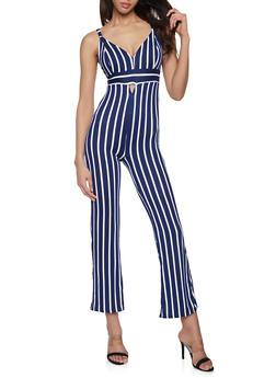 Striped V Neck Jumpsuit - 1045038349652