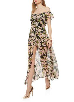Floral Chiffon Maxi Romper - 1045051060119