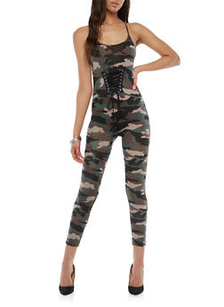 Camo Lace Up Catsuit - 1045051061234
