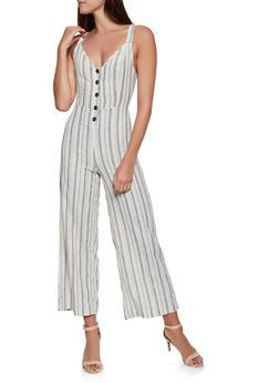 Half Button Striped Linen Jumpsuit - 1045051061277