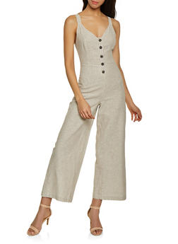Half Button Striped Linen Jumpsuit - 1045051061277