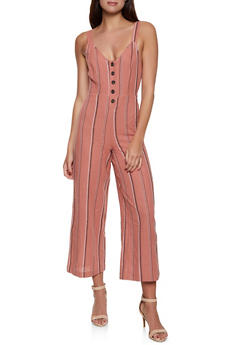f1a15717b64 Half Button Striped Linen Jumpsuit - 1045051061277