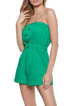 Strapless Button Linen Romper - 1045051061283