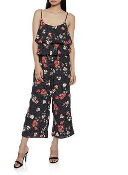 Ruffled Floral Polka Dot Cami Jumpsuit - 1045051061291