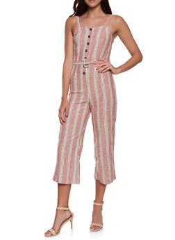 Striped Linen Button Front Jumpsuit - 1045051061370