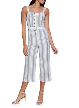 Striped Linen Button Front Jumpsuit - 1045051061370