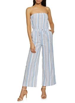 Striped Linen Jumpsuit - 1045051061385