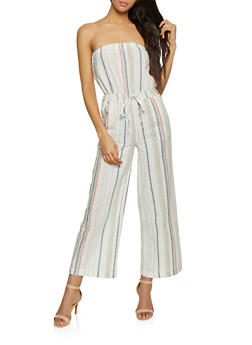 Striped Linen Jumpsuit - 1045051061385
