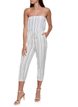 Strapless Striped Linen Jumpsuit - 1045051061386
