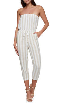 Strapless Striped Linen Jumpsuit - 1045051061386