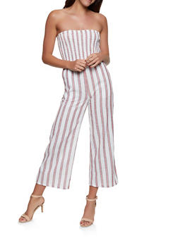 Striped Linen Palazzo Jumpsuit - 1045051061387