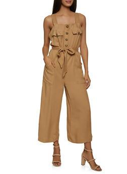 Half Button Sleeveless Jumpsuit - 1045051061473