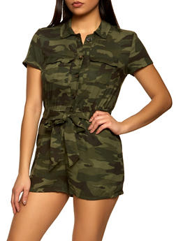 Two Front Pocket Camo Romper - 1045051061477