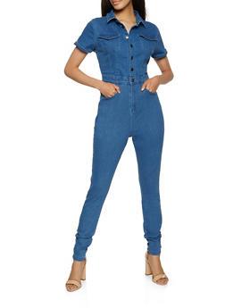 Button Front Denim Jumpsuit - 1045051061662