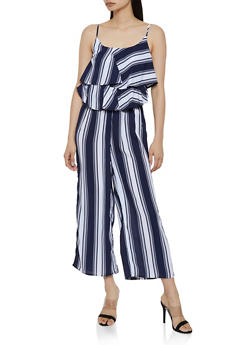 Ruffle Striped Cami Jumpsuit - 1045051062291