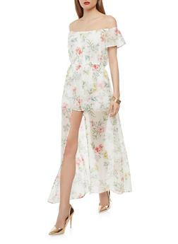 Floral Chiffon Maxi Romper - 1045051065119