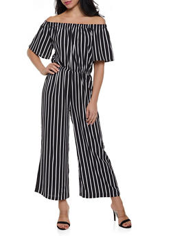 Striped Off the Shoulder Palazzo Jumpsuit - BLACK/WHITE - 1045054260268