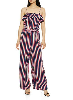 Ruffled Striped Cami Jumpsuit - 1045054260767