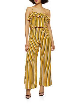 Ruffled Striped Cami Jumpsuit - 1045054260767