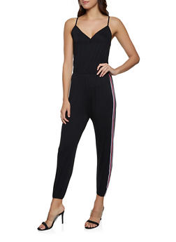 Striped Tape Jumpsuit - 1045054260787