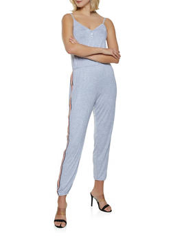 Striped Tape Jumpsuit - 1045054260787