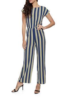 Crepe Knit Striped Jumpsuit - 1045054261152