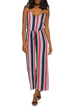 Striped Cinched Waist Jumpsuit - 1045054261747