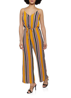 Striped Cinched Waist Jumpsuit - 1045054261747
